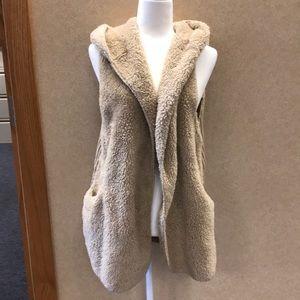 Tan teddy bear plush open hooded vest